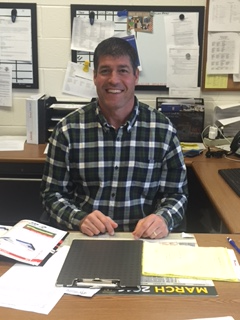 Hershey's new Athletic Director Scott Govern sits at his desk readily for work. 		           Govern's outstanding resume, containing playing professional football for a year              makes him a great addition to the Hershey family (Broadcaster/Shyanne Gaston).