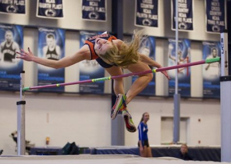 Cotton competes in the high jump during the 2015-2016 indoor track season. She eventually went on to win tenth place in the high jump for the season.  Picture submitted by: Caroline Cotton