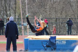 Cotton soars over the high jump pole during her sophomore year outdoor season. Cotton eventually got ninth in districts later that year.