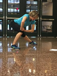 Math teacher Amy Wolfe leads a Turbo Kick and Core session on Friday, April 29th, 2016 at the first Hershey High School Community Day. Participants learned a high intensity cardio workout designed to get your heart rate pumping to the beat.