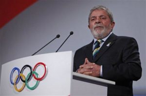 Brazil's President Luiz Inacio Lula da Silva speaks during the Rio de Janeiro 2016 bid presentation during the 121st International Olympic Committee session at the Bella Center in Copenhagen, Friday, Oct. 2, 2009. Chicago, Madrid, Rio de Janeiro and Tokyo are competing for the right to host the 2016 Summer Olympic Games. The IOC will choose the winning city in a vote on Friday in Copenhagen.(AP Photo/Charles Dharapak, Pool)