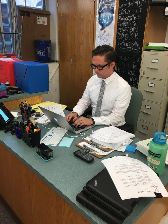 Boggess (above) types on his computer on September 6, 2016 at HHS. Now he teaches his classes from home due to coronavirus. (Broadcaster/Lydia Gould)