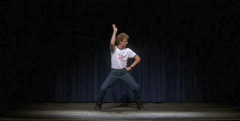 """Napoleon dances in front of the Preston High student body. His song of choice: Jamiroquai's """"Canned Heat"""". (Image courtesy of Fox Searchlight)"""