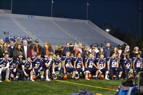 The thirteen Hershey Football seniors line-up to be honored on senior night, Friday, November 4th. The boys played a hard fought game against the Lower Dauphin Falcons. (Broadcaster/Anna Levin)