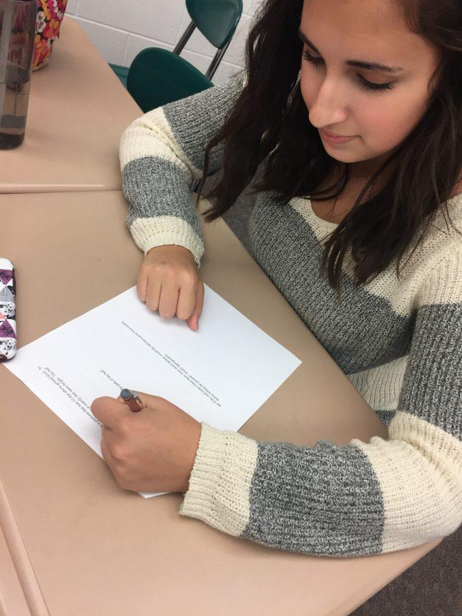 As the first marking period comes to an end, Karis Gould is hard at work in math class on Thursday November 3rd, 2016. She was striving hard to earn a good grade on an assignment to secure her A for the marking period. (Broadcaster/Meredith Gould)