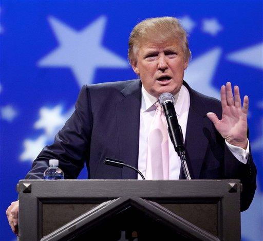 Donald Trump speaks to a crowd of 600 people during a gathering of Republican women's groups, Thursday, April 28, 2011, in Las Vegas. Trump's flirtation with a White House bid continued Thursday night with a lavish reception at the Treasure Island casino in Las Vegas. (AP Photo/Julie Jacobson)