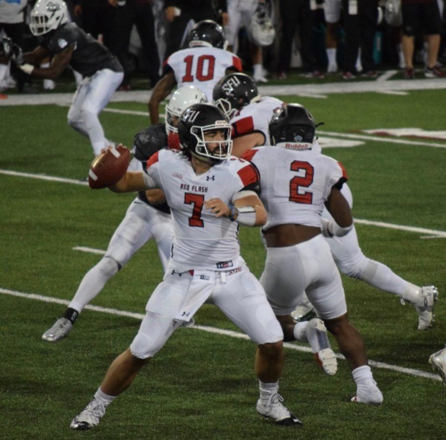 Saturday, September 3rd, Saint Francis played at the University of Montana for their opening game. Drayer had two touchdown passes and threw for 184 yards that game. (Broadcaster/Mallory Drayer)