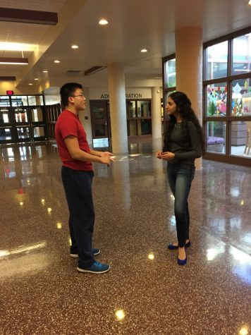 Model UN co-presidents Jason Guo (left) and Twisha Bhardwaj (right) converse after a meeting on November 17, 2016 in Hershey High School. The club meets every Thursday afternoon in Mrs. Shirk's room. (Broadcaster/ Lynn Dang)