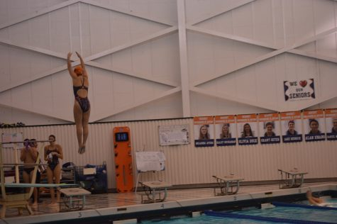 Hershey High School sophomore Meredith Gould warms up with the rest of Hershey's divers. Gould went on to take first place in girls diving with a score of 221.15 on Tuesday December 13, 2016. (Broadcaster/Emily Liesch)