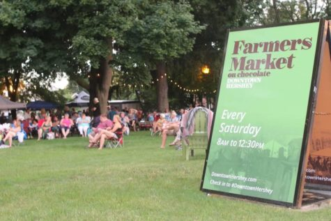 Citizens of Hershey gathered downtown for the Farmers Market on Chocolate. This year the Farmers Market will be held every second Saturday June through September. (Broadcaster/Marisa Balanda)