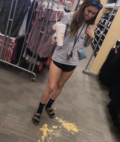 """HHS junior Kaitlyn Kelley is pictured after dropping her smoothie in the middle of Target. The photo was posted on her finsta with the caption, """"this is my life in a photo."""" (Submitted by Kaitlyn Kelley)"""