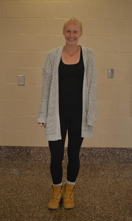 Rocking+black+leggings+and+a+black+shirt%2C+senior+Korryn+Kehler+adds+a+grey+long+sweater+to+complete+the+look.+With+this+trendy+outfit%2C+Kehler+sports+Timberland+boots+with+high+socks.+%28Broadcaster%2FElaina+Joyner%29