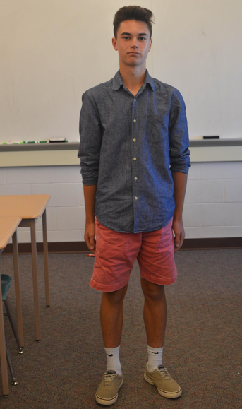 Sophomore+David+Randall+sports+a+blue+button+down+shirt+with+pink+khaki+shorts.+Randall+wears+Sperry+shoes+to+complete+his+outfit.+%28Broadcaster%2FElaina+Joyner%29