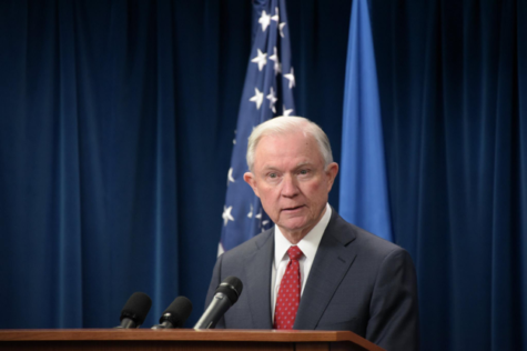 U.S. Attorney General Jeff Sessions speaks to reporters about President Trump's Executive Order on Protecting the Nation from Foreign Terrorist Entry on March 6, 2017.  Sessions announced the end of DACA, the Deferred Action for Childhood Arrivals, in six months time. (Department of Homeland Security/Jetta Disco)