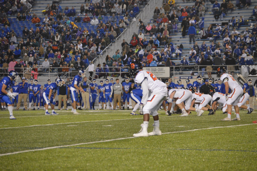 Hershey defense gets ready for a Lower Dauphin snap in the first half of the game. LD took the game at Hersheypark Stadium, putting up 48 points in a crushing victory. (The Broadcaster/Kieran Hogan)