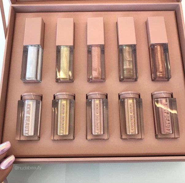 (Credit to Huda Beauty's Instagram Page) The newest KKW metallic lipstick and shimmering powder set. Kattan was the first in the world to receive the new line.