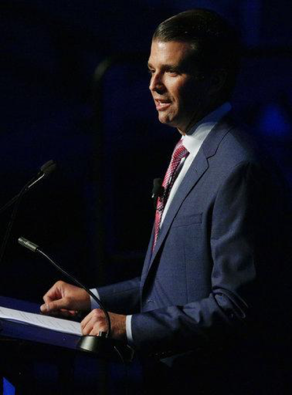 Donald Trump Jr. speaks during a fundraiser for Faulkner University, Thursday, Oct. 5, 2017, in Montgomery, Ala.  According to reporting by The Atlantic, Trump Jr. communicated with WikiLeaks multiple times during the 2016 presidential campaign. (AP Photo/Brynn Anderson)