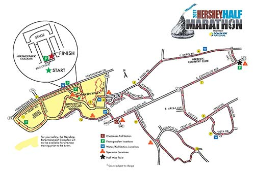 The picture shown is a course map that the participants of the Hershey half-marathon followed. The 13.1 mile path passes through many popular tourist attractions, while starting and ending at the HersheyPark Stadium. (Photo courtesy of chocolatetownchallenges.com)