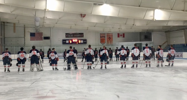 The Hershey Trojans stand for the national anthem prior to the game. The Trojans record improved to 7-1-1. (Broadcaster/Leah Koppenhaver)