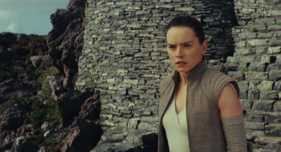 Rey confronts Luke Skywalker in a scene from Star Wars: The Last Jedi.  Rey's parentage is revealed in the film.  (Star Wars)