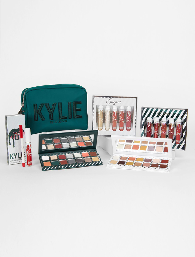 Kylie Cosmetics releases her first limited edition holiday set. The line includes a makeup bag, two lipstick sets, two eyeshadow palettes, and a lip kit. (KylieCosmetics)