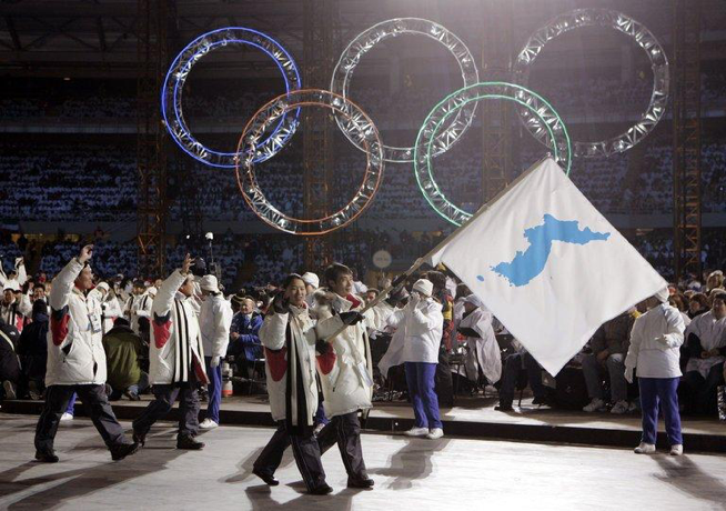 North and South Korean athletes marched together during the opening ceremony of the 2006 Winter Olympics in Turin, Italy. The nations will march together again in the 2018 Winter Olympics. (AP Photo/Amy Sancetta)