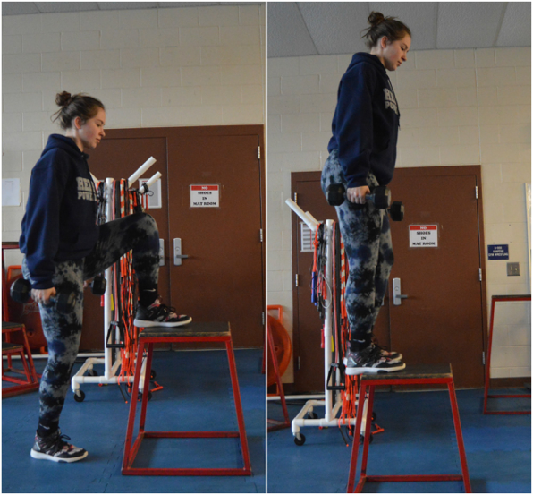 The final exercise for the gluteus medius is the step up. To complete this exercise, step up onto a raised surface, typically about one foot tall, and bring the other knee up to 90 degrees, as if to step onto another, taller step, and step back down. This exercise will work best if it is done on both legs. (Broadcaster/Jenna Thomas)