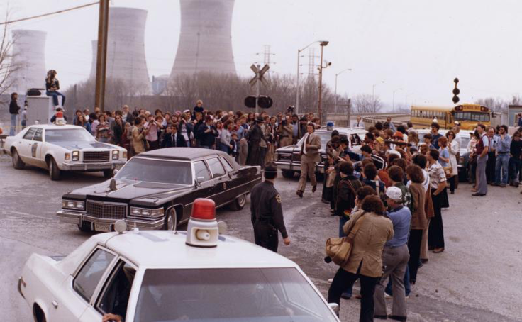 President Jimmy Carter leaving Three Mile Island for Middletown, Pa. on April 1, 1979. Carter's arrival at the power plant helped to quell the public's fears of a full nuclear meltdown. (Photo from the National Archives and Records Administration.)