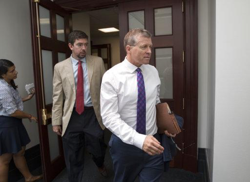 Rep. Charlie Dent, R-Pa., a member of the House Appropriations Committee, emerges from a House Republican Conference meeting on Capitol Hill in Washington, Friday, July 28, 2017. Dent announced his intention to resign from the House in May on Tuesday, April 17, 2018. (AP Photo/J. Scott Applewhite)