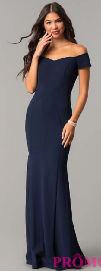 The+classic+navy+Promgirl+dress+comes+with+a+modern+off+the+shoulder+look.+This+dress+can+be+dressed+up+with+silver+or+gold+necklaces%2C+bracelets%2C+and+earrings.+