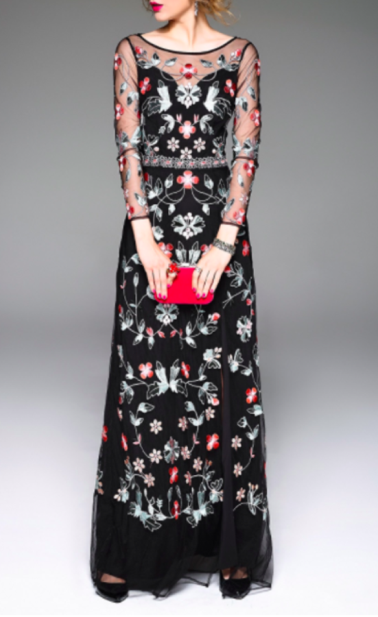 The+flower+embroidered+Dezzal+dress+has+great+dramatic+contrast+with+the+bright+flowers+and+black+base+color.+The+dress+has+a+wow-factor+in+itself%2C+so+no+need+to+worry+about+accessories.