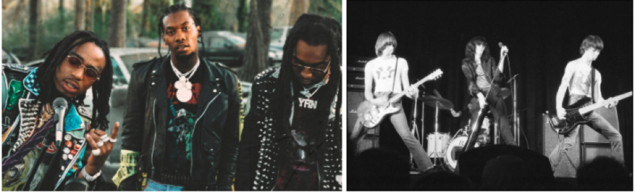 "The ""Migos'"" style draws influence from punk rock stars like the ""Ramones"" (above right), who were the creators of cool in their signature leather jackets. Mumble rap is taking over the regularity which used to be rock music among teens. (Still from Migos' ""What The Price"" music video, Ramones via Pilsmo)"