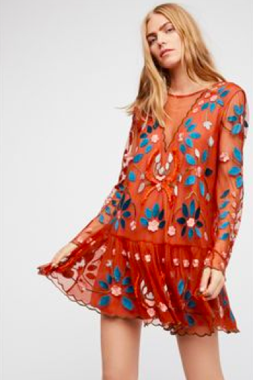 The+Bohemian+style+Free+People+dress+offers+pops+of+colors+for+the+spring+season.+The+dress+comes+in+two+other+colors%2C+blue+and+black.