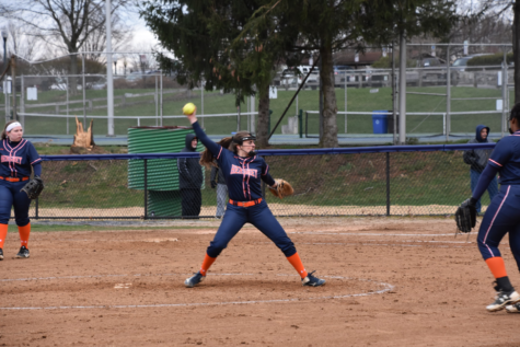 HHS senior captain, Lauren Kroutch, pitches against Palmyra on Thursday, April 19, 2018.  Hershey was shutout by Palmyra with a final score of 6-0. (Broadcaster / Katherine Clark)