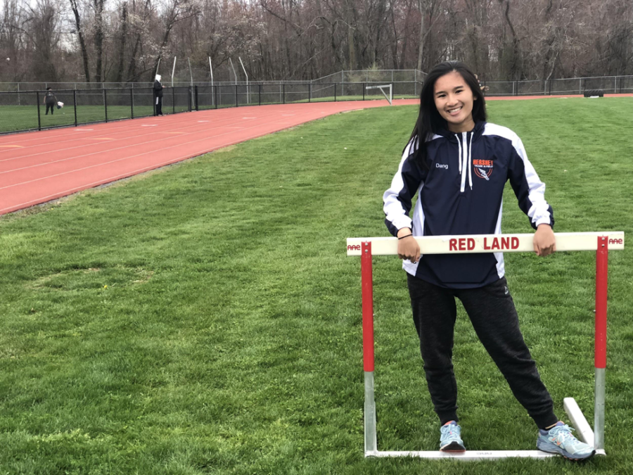 Senior Lynn Dang stands behind a hurdle at Red Land School District on April 24th 2018. Dang worked at the Hotel Hershey as an activities attendant during the summer. (Broadcaster/Ashlyn Weidman)