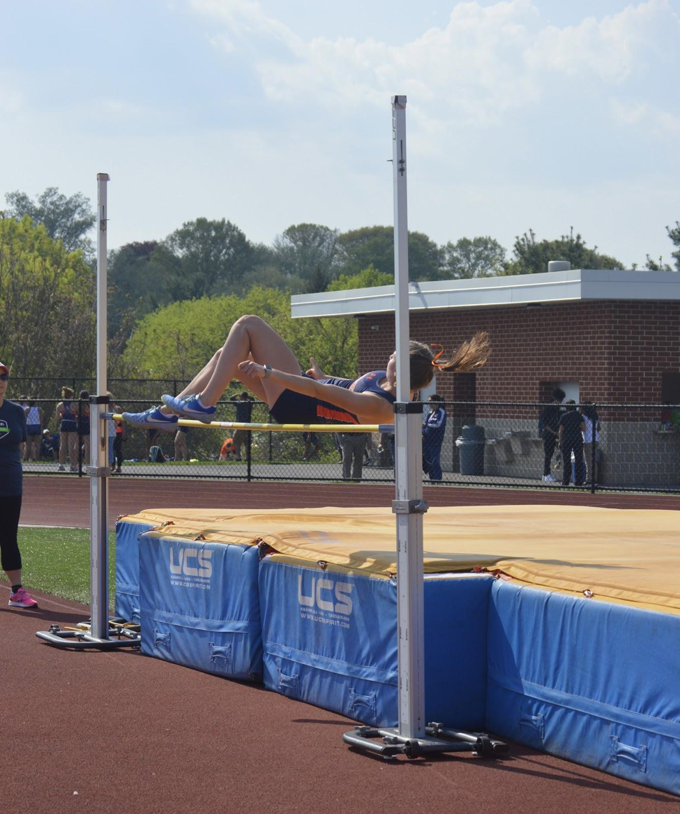 Mary-Anne+Nortier+competing+in+the+girls+high+jump.+Nortier+placed+in+the+high+jump%2C+100+meter+hurdles%2C+and+the+300+meter+hurdles+during+Mid-Penn+Championships+on+May+12%2C+2018.+%28Broadcaster%2FAlexis+Moodie%29%0A