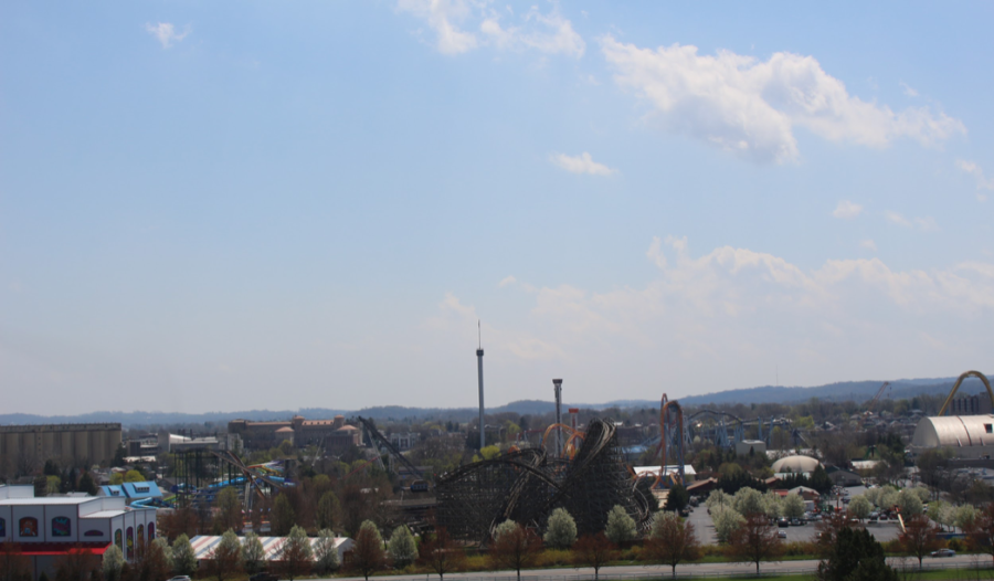 Pictured is an overview of Hersheypark taken on April 26th, 2018. The wooden roller coaster pictured at bottom is the Wildcat, a newer copy of the original. (Broadcaster/Elena Lee)