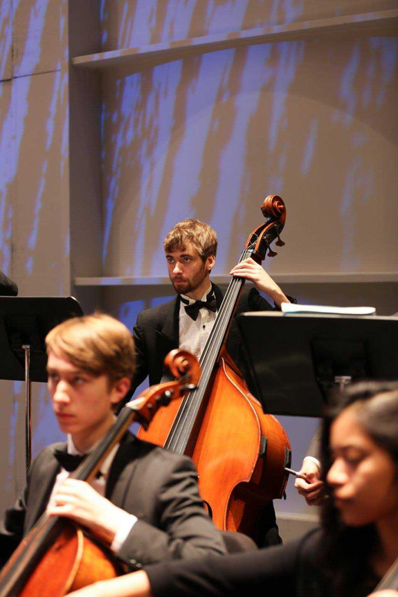 Otto Kuehrmann playing the stand up bass in an orchestra concert. Kuehrmann has recently graduated from PSU with his major in Music Education. (Submitted by Otto Kuehrmann)