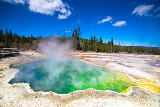 Yellowstone caldera vents geothermal heat through steam. Some scientists have believed it is due for another eruption, although recent observations have pointed to the contrary. (Maarten Otto/Flickr CC BY-NC-ND 2.0)