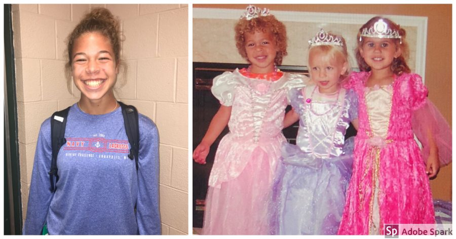 Sophomore Katana Nelson on the right then age five, poses in a princess dress after putting on a fashion show for her friends and family. Nelson is now 15 years old and plays field hockey and lacrosse for Hershey High School. (Broadcaster/Elaina Joyner, Submitted by Katana Nelson)