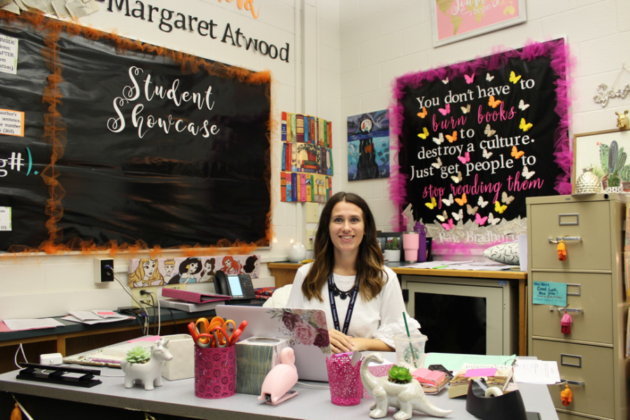 Ms. West, an english teacher, starts her first year at Hershey High School this 2018-2019 school year. Her room is filled with bright and colorful decorations that gives off a happy learning environment. (Broadcaster/hallie linskiy)