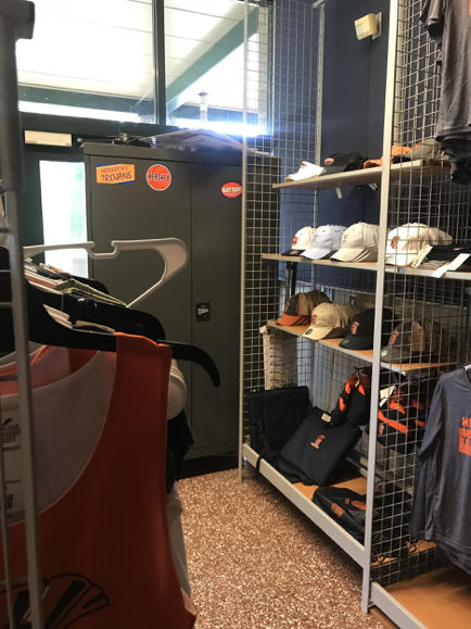 Hats and shirts are available for sale at the Trojan Trading Post. The Trojan Trading Post has offered school spirit wear since it first opened. (Broadcaster/Benji Keeler)