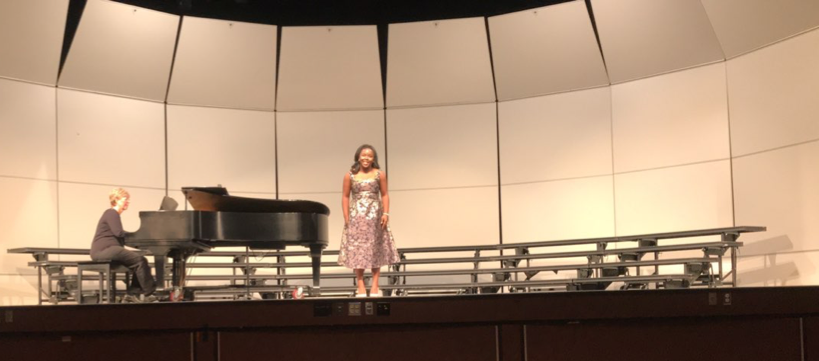 """Sophomore Jordan Lewis sings at a HHS concert on October 29, 2018. She sang the song """"The Music That Makes Me Dance"""" written by Bob Merrill and Jule Styne. (Photo provided by Jordan Lewis)"""