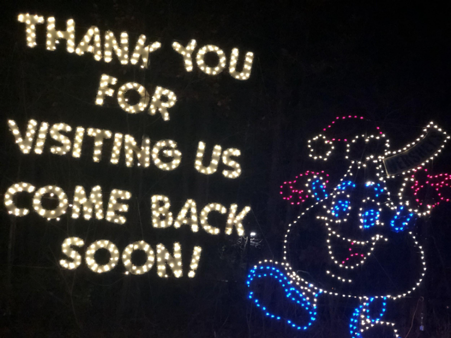 Hershey's Sweet Lights bids its visitors farewell with a kiss. Sweet Lights also used the Hershey kiss in the entrance of the ride since it a favorite character.(Broadcaster/Ashlyn Weidman)