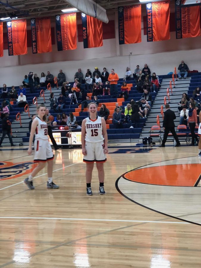 Kate Sinz takes the court for her game against Cedar Cliff on Friday, January 18. The girls also played at home against Milton Hershey on Saturday, January 19, winning 46-16. (Broadcaster/ Claire Sheppard)