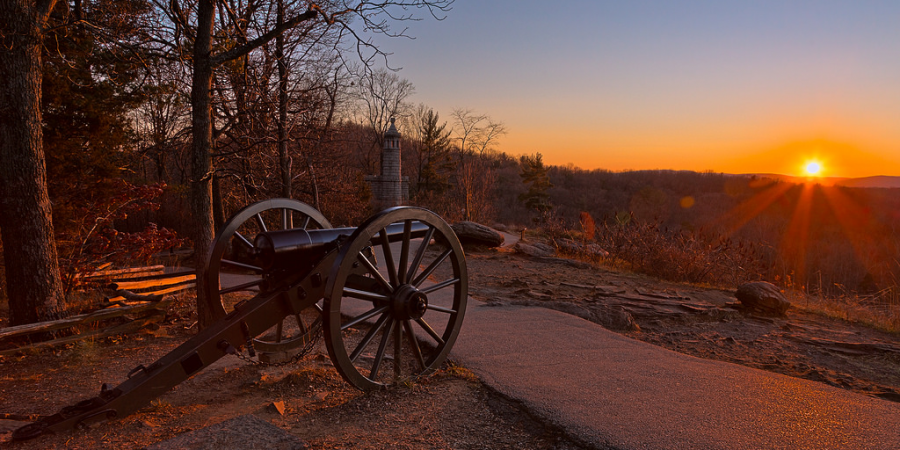 A sunset view of Little Round Top, which is located in the Gettysburg National Park. Visitors can take a peaceful walk through the park, while also learning about a very historic battle. (Flickr)