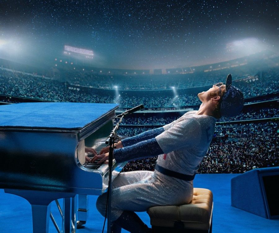 One of promotional photos for the movie Rocketman is a photo of Elton John in his iconic Dodgers outfit. The film will be released on May 31. (Via/Paramount Movies)