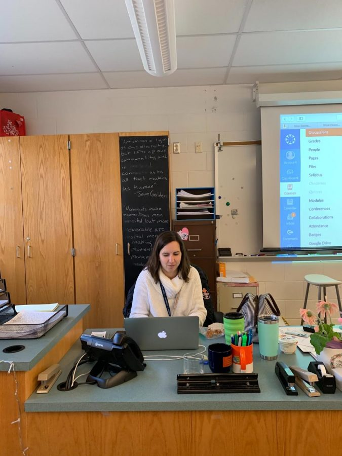 Lindsey Nester, HHS English teacher, grades students work on April 4th, 2019. She has almost completed her first full year as a teacher at Hershey High School. (Broadcaster/Emily Massage)