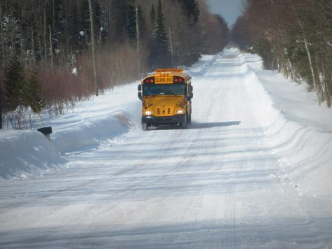 """""""A school bus in March traveling through the central Upper Peninsula."""" - (yooperann/CC BY-NC-ND 2.0)"""