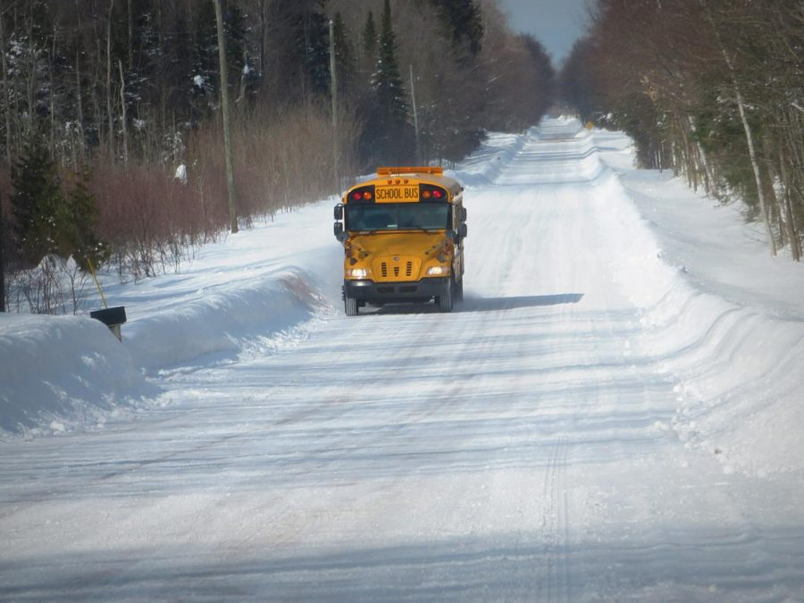"""A school bus in March traveling through the central Upper Peninsula."" - (yooperann/CC BY-NC-ND 2.0)"